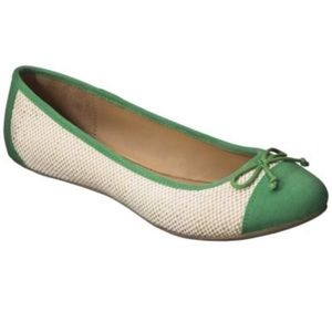 NWOT | Merona Madge Cap Bow Ballet Flats in Green